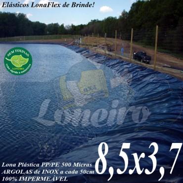 Lona para Lago Tanque de Peixes PP/PE 8,5 x 3,7m Azul / Preto impermeável e atóxica para Lago Artificial Açudes Cisternas e Reservatórios de Água