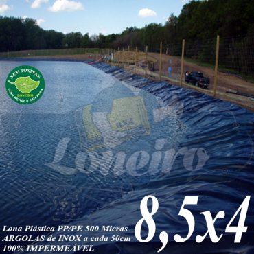 Lona para Lago Tanque de Peixes PP/PE 8,5 x 4,0m Azul / Preto para Lagos Artificiais Tanque de Peixes e Armazenagem de Água Reservatórios de Água