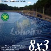 Lona para Lago Tanque de Peixes PP/PE 8,0 x 3,0m Azul/Preto impermeável e atóxica para Lagos Artificiais, Armazenagem de Água e Cisternas