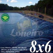 Lona para Lago Tanque de Peixes PP/PE 8,0 x 6,0m Prateada/Branca para Lagos Artificiais, Armazenagem de Água e Cisterna