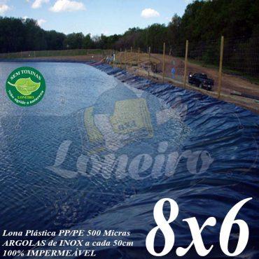Lona para Lago Tanque de Peixes PP/PE 8,0 x 6,0m Azul/Cinza para Lagos Artificiais, Armazenagem de Água e Cisterna