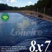 Lona para Lago Tanque de Peixes PP/PE 8,0 x 7,0m Azul / Cinza para Lago Artificial Reservatório de Água Irrigação Açudes Cisternas Vales e Poços