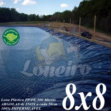 Lona para Lago Tanque de Peixes PP/PE 8,0 x 8,0m Azul/Cinza impermeável e atóxica para Lago Artificial, Armazenagem de Água e Cisterna