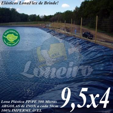 Lona para Lago Tanque de Peixes PP/PE 9,5 x 4,0m Azul/Preto impermeável e atóxica para Lagos Artificiais, Armazenagem de Água e Cisterna