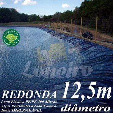 Lona para Lago Tanque de Peixes PP/PE: 12,5m de diâmetro Redonda Azul/Cinza para Lagos Artificiais, Armazenagem de Água e Cisterna