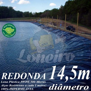 Lona para Lago Tanque de Peixes PP/PE: 14,5m de diâmetro Redonda Azul/Cinza para Lagos Artificiais, Armazenagem de Água e Cisterna