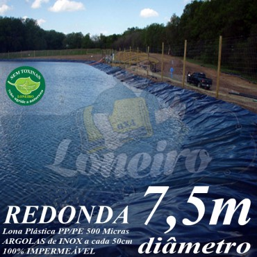 Lona para Lago Tanque de Peixes PP/PE 7,5m de diâmetro Redonda Azul/Cinza para Lagos Artificiais, Armazenagem de Água e Cisterna