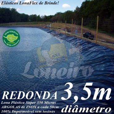 Lona para Lago Ornamental PP/PE 3,5m de diâmetro Redonda Azul com 25 el de 30cm - Tanque de Peixes Lagos Artificiais Armazenagem de Água e Cisterna