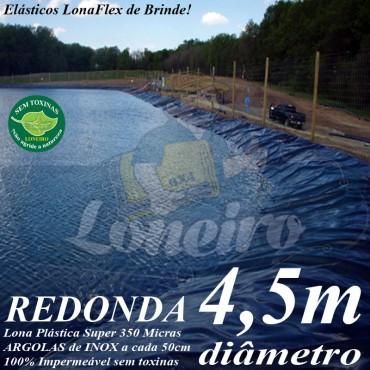Lona para Lago Ornamental PP/PE 4,5m de diâmetro Redonda Azul impermeável para Tanque de Peixes Lagos Artificiais Armazenagem de Água e Cisterna