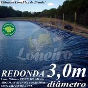 Lona para Lago Ornamental PP/PE 3,0m de diâmetro Redonda Azul/Preto - Tanque de Peixes, Lagos Artificiais, Armazenagem de Água e Cisterna