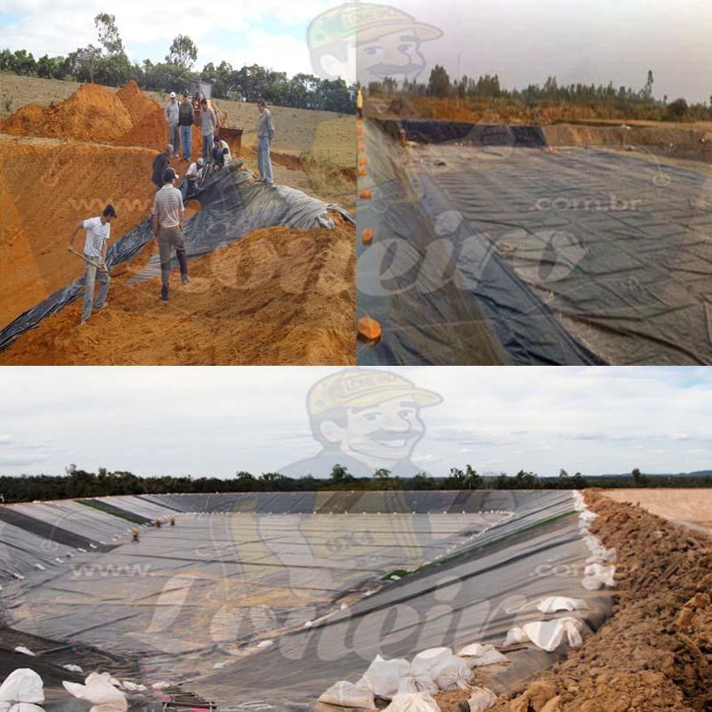 Lona para Lago Tanque de Peixes PP/PE: 30,0 x 10,0m Azul/Cinza para Lagos Artificiais, Armazenagem de Água e Cisterna