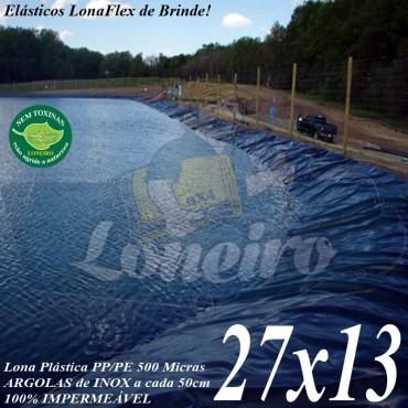 Lona para Lago Tanque de Peixes PP/PE: 27,0 x 13,0m Cinza/Azul para Lagos Artificiais Gigantes, Armazenagem de Água e Cisterna