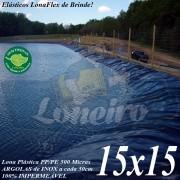 Lona para Lago Tanque de Peixes PP/PE: 15,0 x 15,0m Azul/Cinza para Lago Artificial, Tanque de Peixes, Armazenagem de Água e Cisterna