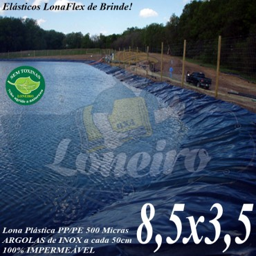 Lona para Lago Tanque de Peixes PP/PE 8,5 x 3,5m Azul / Preta impermeável e atóxica para Tanque de Peixes Lago Artificial Ornamental
