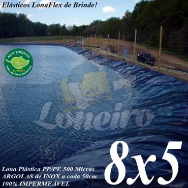Lona para Lago Tanque de Peixes PP/PE 8,0 x 5,0m Azul / Cinza impermeável e atóxica para Tanque de Peixes Lago Artificial Ornamental