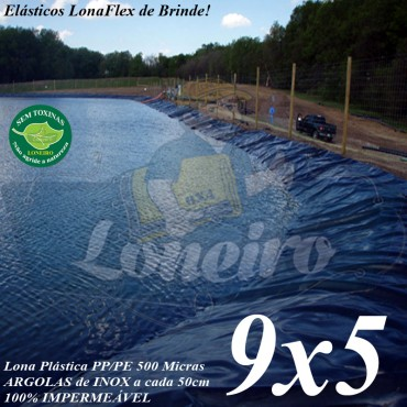 Lona para Lago Tanque de Peixes PP/PE 9,0 x 5,0m Azul/Cinza impermeável e atóxica para Lago Artificial, Armazenagem de Água e Cisterna