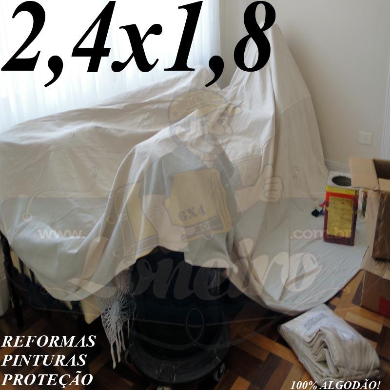 Lona 2,4 x 1,8m Capa de Sofá Cama Pano de Algodão Cloth para Reforma Pintura Proteção Confecções Lençol
