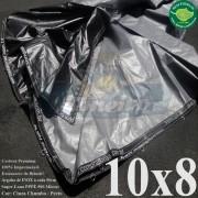 Lona: 10,0 x 8,0m Plástica Premium 500 Micras PP/PE Cobertura Proteção Cinza Chumbo e Preto + 90 Elásticos LonaFlex 30cm + 30m Corda 4mm