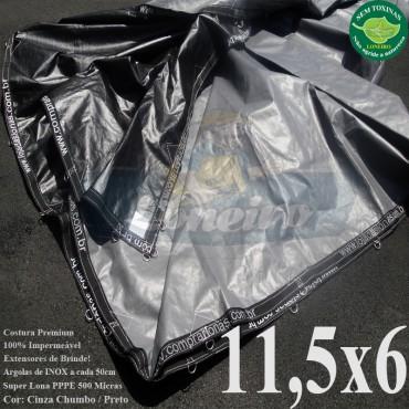 Lona: 11,5 x 6,0m Plástica Premium 500 Micras PP/PE Cobertura Proteção Cinza Chumbo e Preto + 86 Elásticos LonaFlex 30cm