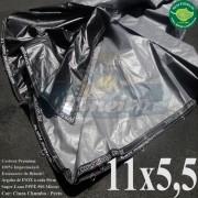 Lona: 11,0 x 5,5m Plástica Premium 500 Micras PP/PE Cobertura Proteção Cinza Chumbo e Preto + 85 Elásticos LonaFlex 30cm + 30m Corda 4mm