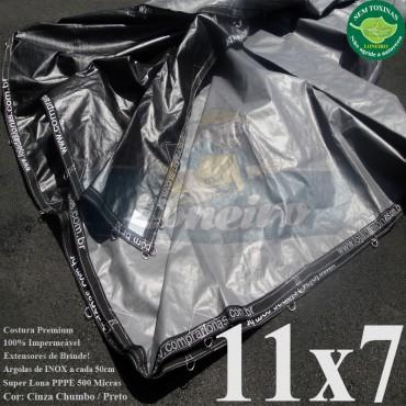 Lona: 11,0 x 7,0m Plástica Premium 500 Micras PP/PE Cobertura Proteção Cinza Chumbo e Preto + 40 metros Corda 4mm