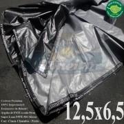 Lona: 12,5 x 6,5m Plástica Premium 500 Micras PP/PE Cobertura Proteção Cinza Chumbo e Preto + 50 metros Corda 4mm