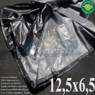 Lona: 12,5 x 6,5m Plástica Premium 500 Micras PP/PE Cobertura Proteção Cinza Chumbo e Preto + 95 Elásticos LonaFlex 30cm + 30m Corda 4mm
