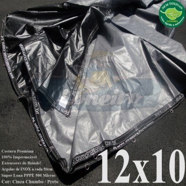 Lona: 12,0 x 10,0m Plástica Premium 500 Micras PP/PE Cobertura Proteção Cinza Chumbo e Preto + 90 Elásticos LonaFlex 30cm + 30m Corda 4mm