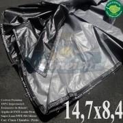 Lona: 14,7 x 8,4m Plástica Premium 500 Micras PP/PE Cobertura Proteção Cinza Chumbo e Preto + 110 Elásticos LonaFlex 30cm