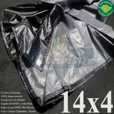 Lona: 14,0 x 4,0m Plástica Premium 500 Micras PP/PE Cobertura Proteção Cinza Chumbo e Preto + 90 Elásticos LonaFlex 30cm + 30m Corda 4mm