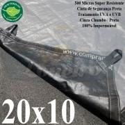 Lona: 20,0 x 10,0m Plástica Gigante 500 Micras PPPE Cinza Chumbo e Preto Ultra Resistente