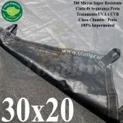 Lona: 30,0 x 20,0m Plástica Gigante 500 Micras PPPE Cinza Chumbo e Preto Ultra Resistente