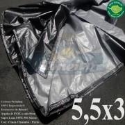 Lona 5,5 x 3,0m Plástica Premium 500 Micras PP/PE Cobertura Proteção Cinza Chumbo e Preto + 50 Elásticos LonaFlex 30cm