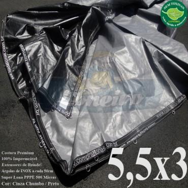 Lona 5,5 x 3,0m Plástica Premium 500 Micras PP/PE Cobertura Proteção Cinza Chumbo e Preto + 50 Elásticos LonaFlex 30cm + 20m Corda 4mm