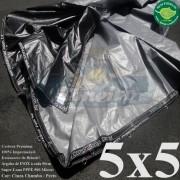 Lona 5,0 x 5,0m Plástica Premium 500 Micras PP/PE Cobertura Proteção Cinza Chumbo e Preto + 60 Elásticos LonaFlex 30cm