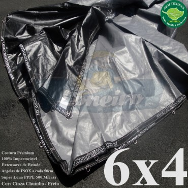 Lona 6,0 x 4,0m Plástica Premium 500 Micras PP/PE Cobertura Proteção Cinza Chumbo e Preto + 60 Elásticos LonaFlex 30cm + 20m Corda 4mm