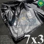 Lona 7,0 x 3,0m Plástica Premium 500 Micras PP/PE Cobertura Proteção Cinza Chumbo e Preto + 60 Elásticos LonaFlex 30cm