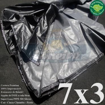 Lona 7,0 x 3,0m Plástica Premium 500 Micras PP/PE Cobertura Proteção Cinza Chumbo e Preto + 60 Elásticos LonaFlex 30cm + 20m Corda 4mm