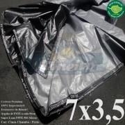 """Lona 7,0 x 3,5m Plástica Premium 500 Micras PP/PE Cobertura Proteção Cinza Chumbo e Preto com argolas """"D"""" INOX a cada 50cm"""