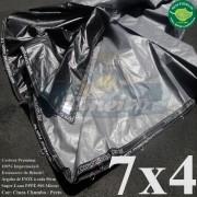 Lona 7,0 x 4,0m Plástica Premium 500 Micras PP/PE Cobertura Proteção Cinza Chumbo e Preto + 60 Elásticos LonaFlex 30cm