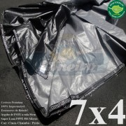 Lona 7,0 x 4,0m Plástica Premium 500 Micras PP/PE Cobertura Proteção Cinza Chumbo e Preto + 60 Elásticos LonaFlex 30cm + 20m Corda 4mm