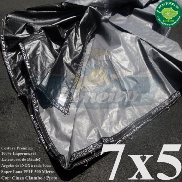 Lona 7,0 x 5,0m Plástica Premium 500 Micras PP/PE Cobertura Proteção Cinza Chumbo e Preto + 65 Elásticos LonaFlex 30cm + 30m Corda 4mm