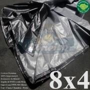 """Lona 8,0 x 4,0m Plástica Premium 500 Micras PP/PE Cobertura Proteção Cinza Chumbo e Preto com argolas """"D"""" INOX a cada 50cm"""