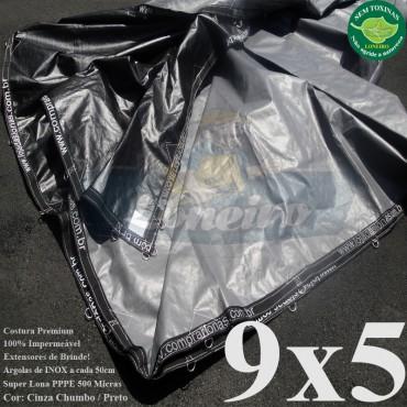 Lona 9,0 x 5,0m Plástica Premium 500 Micras PP/PE Cobertura Proteção Cinza Chumbo e Preto + 75 Elásticos LonaFlex 30cm + 30m Corda 4mm