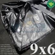 Lona 9,0 x 6,0m Plástica Premium 500 Micras PP/PE Cobertura Proteção Cinza Chumbo e Preto + 80 Elásticos LonaFlex 30cm + 30m Corda 4mm