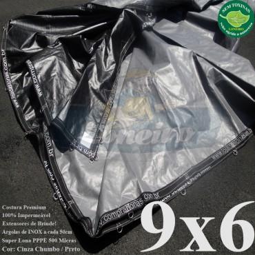 """Lona 9,0 x 6,0m Plástica Premium 500 Micras PP/PE Cobertura Proteção Cinza Chumbo e Preto com argolas """"D"""" INOX a cada 50cm"""