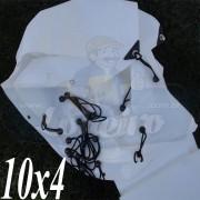 Lona: 10,0 x 4,0m Plástica Branca 300 Micras com ilhoses a cada 50cm para Telhado Barraca Cobertura e Proteção Multi Uso + 48 Elásticos LonaFlex 20cm