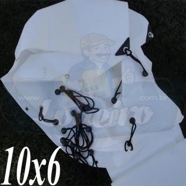 Lona: 10,0 x 6,0m Plástica Branca 300 Micras para Telhado, Barraca, Cobertura e Proteção Multi-Uso + 42 Elásticos LonaFlex 30cm