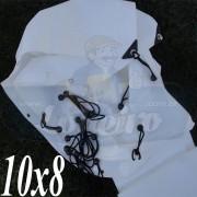 Lona: 10,0 x 8,0m Plástica Branca 300 Micras com ilhoses a cada 50cm para Telhado Barraca Cobertura e Proteção Multi Uso + 72 Elásticos LonaFlex 20cm