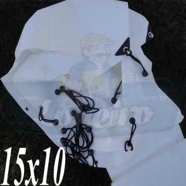 Lona: 15,0 x 10,0m Plástica Branca 300 Micras com ilhos a cada 50cm + 50 Elásticos LonaFlex 30cm de brinde!